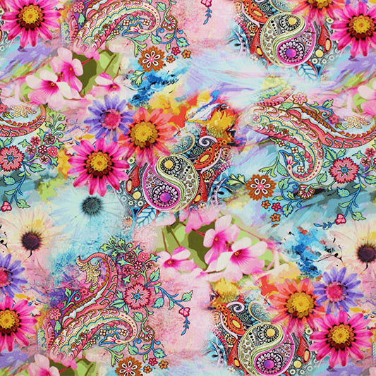 Watercolor Paisley Printed Spandex