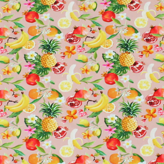 A flat sample of Tropical Fruit Basket Printed Spandex.
