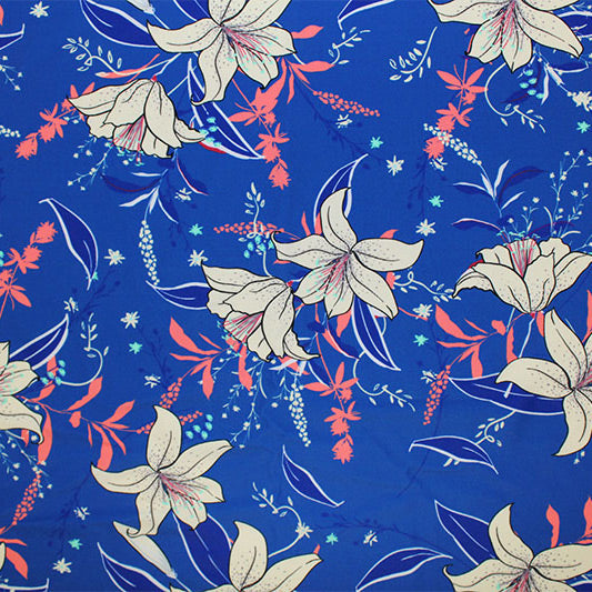 A flat sample of Vanilla Lillie's in Nature Printed Spandex.