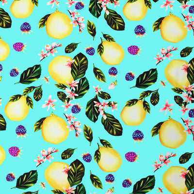 A flat sample of Lemons and Blossoms Printed Spandex.