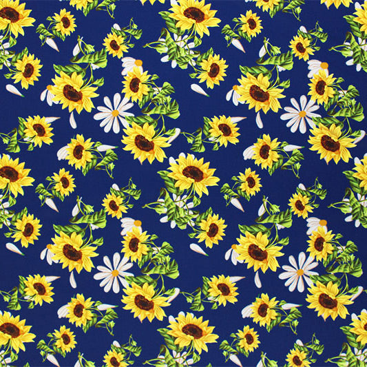 A flat sample of Sunflowers Blue Printed Spandex.