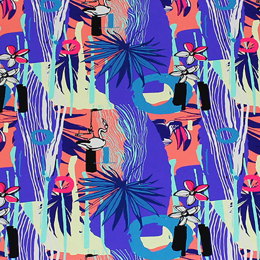 A flat sample of Miami Vice Flamingos Printed Spandex.