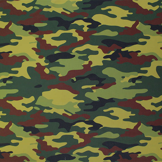 A flat sample of Camo Green Printed Spandex.