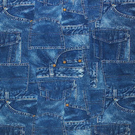 A flat sample of Blue Denim Pocket Printed Spandex.