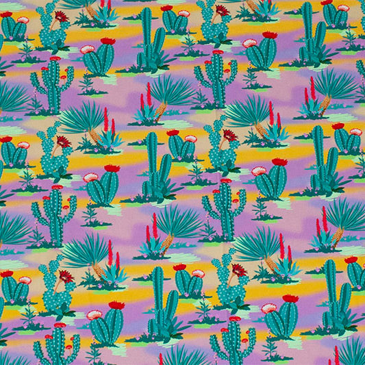 A flat sample of Cactus Multi Color Desert Printed Spandex.