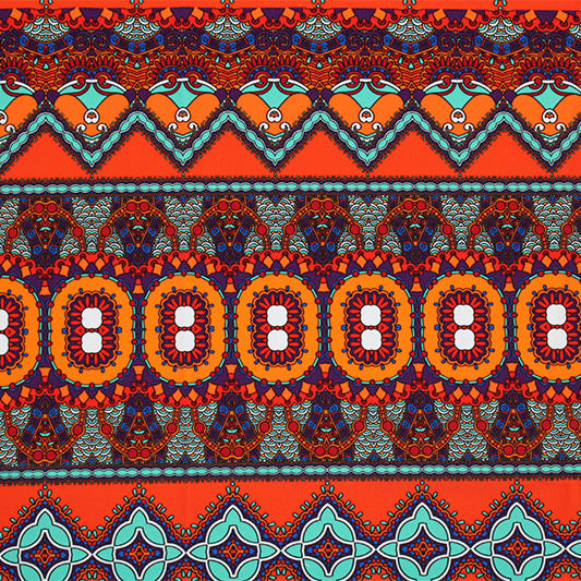 A flat sample of Navajo Mandala Printed Spandex.