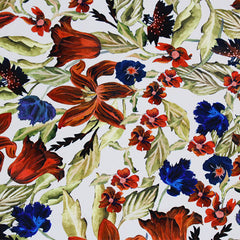 A flat sample of Tossed Lillies Printed Spandex.