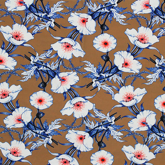 A flat sample of Poppies Brown Blue Printed Spandex.