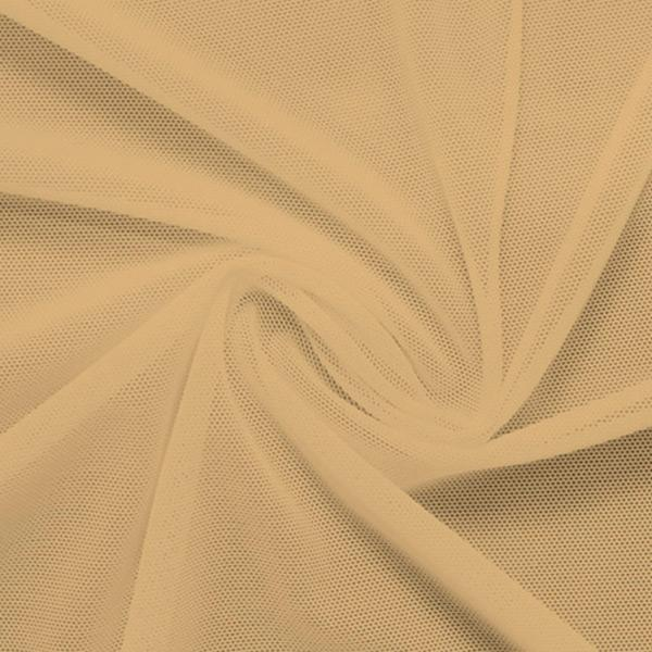 A swirled piece of nylon spandex power mesh in the color almond.