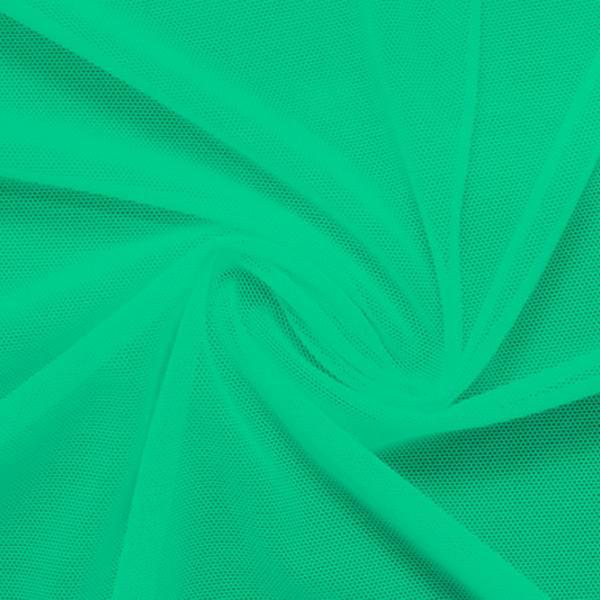 A swirled piece of nylon spandex power mesh in the color aqua green.