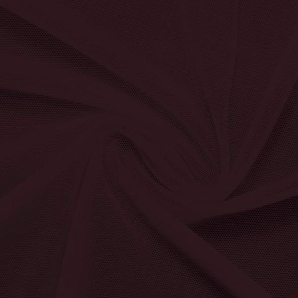 A swirled piece of nylon spandex power mesh in the color aubergine.