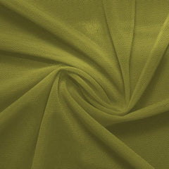 A swirled piece of nylon spandex power mesh in the color avocado.