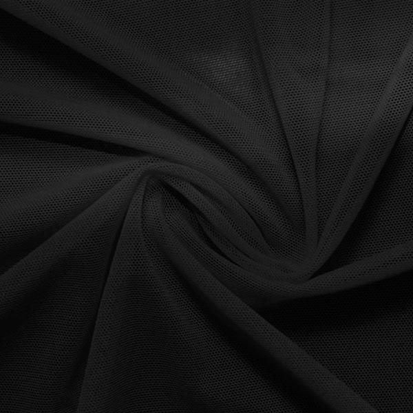 A swirled piece of nylon spandex power mesh in the color black.