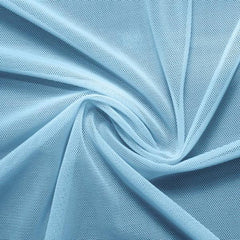 A swirled piece of nylon spandex power mesh in the color blue star.