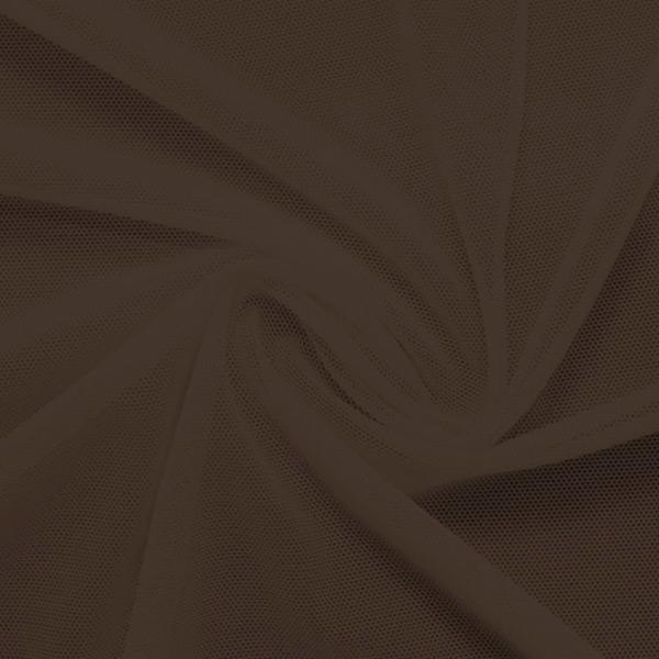 A swirled piece of nylon spandex power mesh in the color brown sugar.