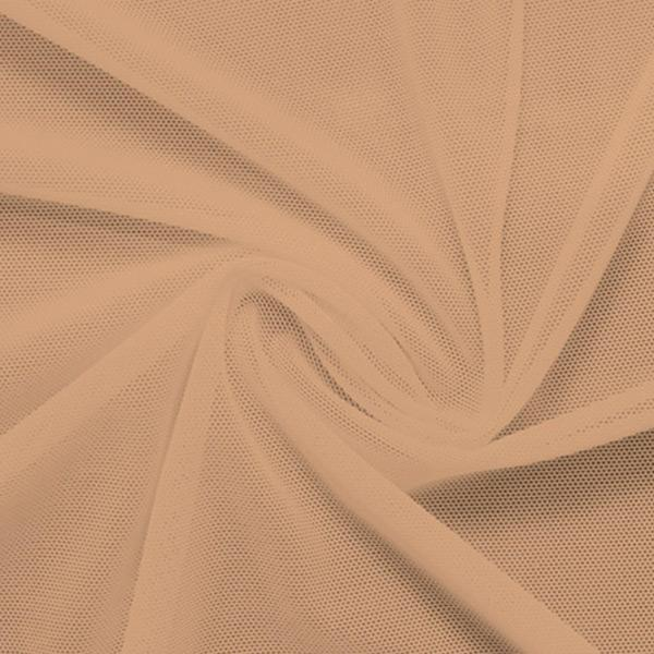 A swirled piece of nylon spandex power mesh in the color caramel kiss.