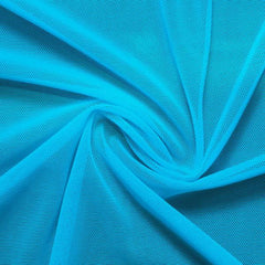 A swirled piece of nylon spandex power mesh in the color celeste blue.