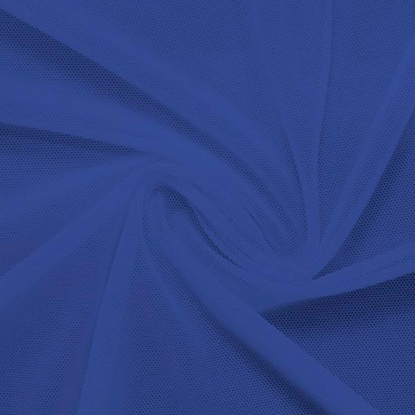 A swirled piece of nylon spandex power mesh in the color cerulean.