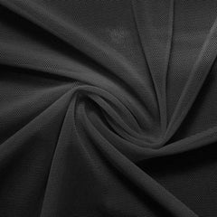 A swirled piece of nylon spandex power mesh in the color charcoal.