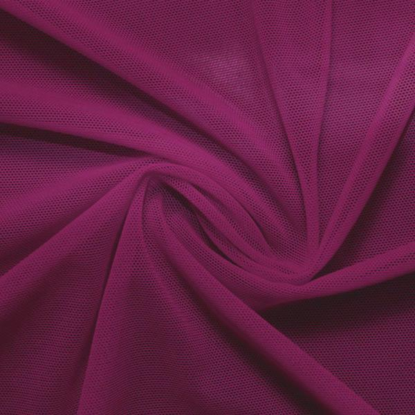 A swirled piece of nylon spandex power mesh in the color dark berry.
