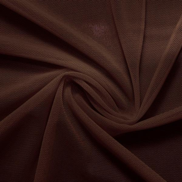 A swirled piece of nylon spandex power mesh in the color dark brown.