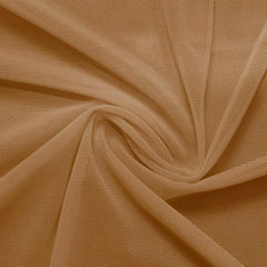 A swirled piece of nylon spandex power mesh in the color dark nude.