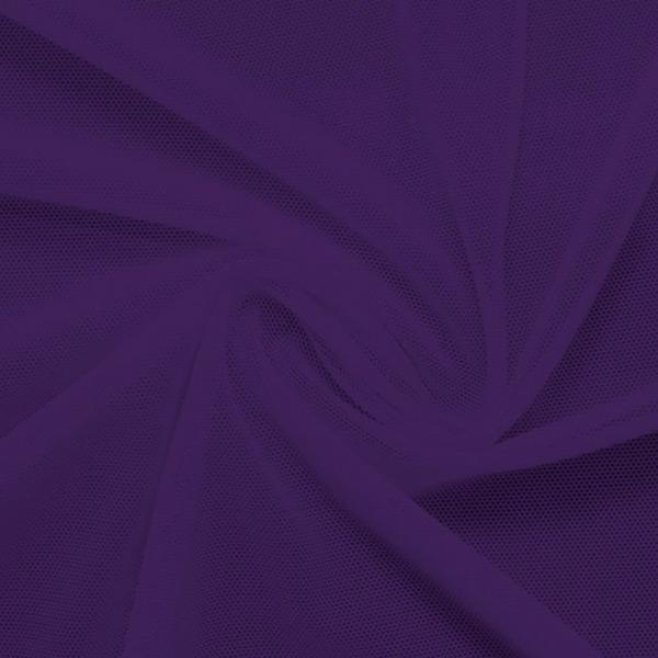 A swirled piece of nylon spandex power mesh in the color purple.