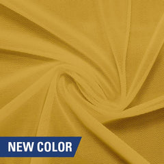A swirled piece of nylon spandex power mesh in the color duckling.