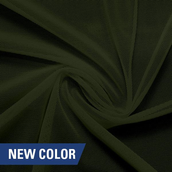 A swirled piece of nylon spandex power mesh in the color dusty olive.