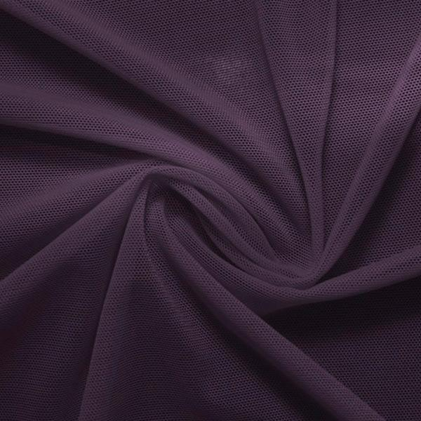 A swirled piece of nylon spandex power mesh in the color eggplant.