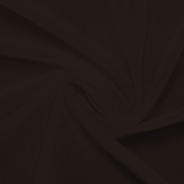 A swirled piece of nylon spandex power mesh in the color espresso.