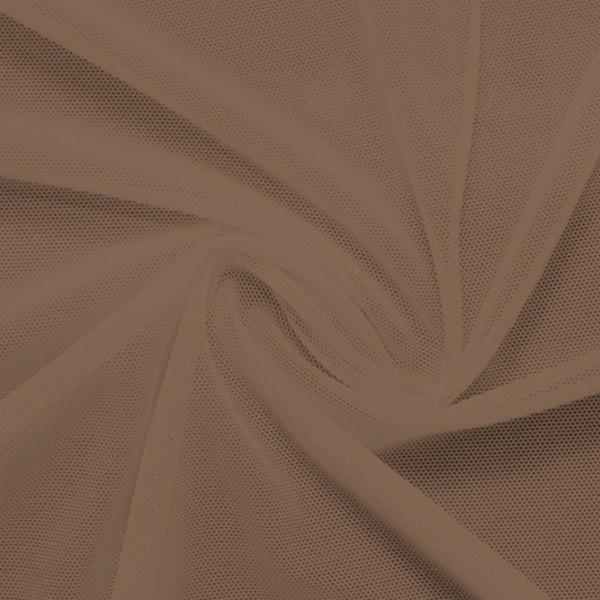 A swirled piece of nylon spandex power mesh in the color fawn.