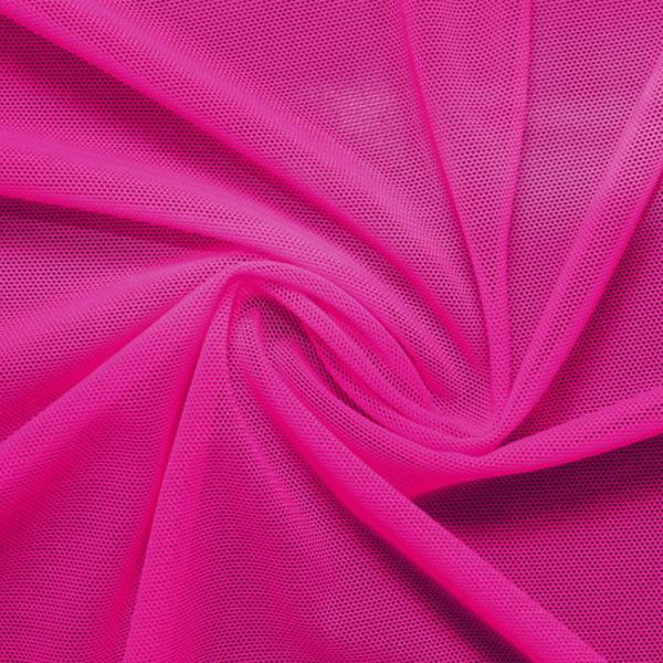 A swirled piece of nylon spandex power mesh in the color fuchsia.