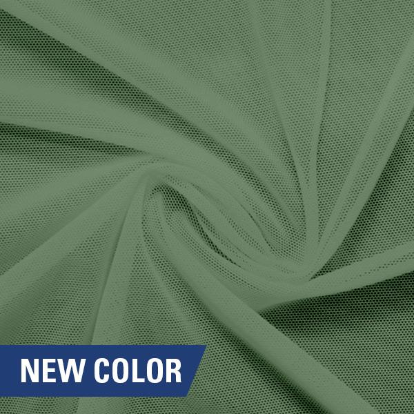 A swirled piece of nylon spandex power mesh in the color garden paradise.