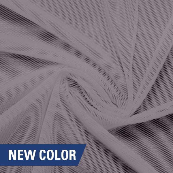 A swirled piece of nylon spandex power mesh in the color grape mist.