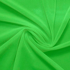 A swirled piece of nylon spandex power mesh in the color grasshopper.