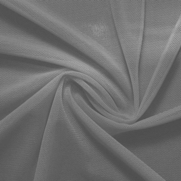 A swirled piece of nylon spandex power mesh in the color gray.