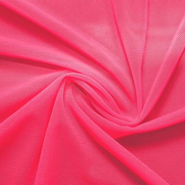 A swirled piece of nylon spandex power mesh in the color guava.