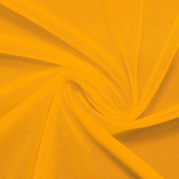 A swirled piece of nylon spandex power mesh in the color halei yellow.