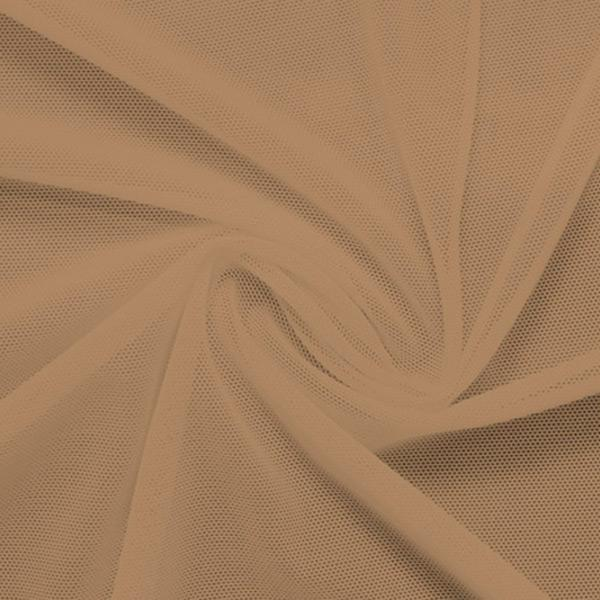 A swirled piece of nylon spandex power mesh in the color honey beige.