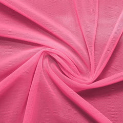 A swirled piece of nylon spandex power mesh in the color hot pink.