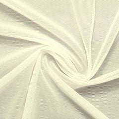 A swirled piece of nylon spandex power mesh in the color ivory.