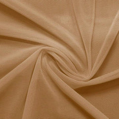 A swirled piece of nylon spandex power mesh in the color latte.