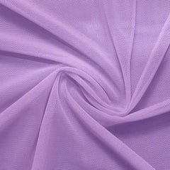 A swirled piece of nylon spandex power mesh in the color lilac.