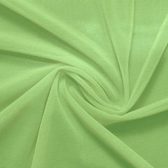 A swirled piece of nylon spandex power mesh in the color lucky charm.