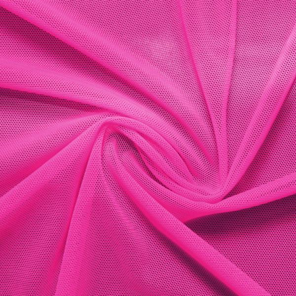 A swirled piece of nylon spandex power mesh in the color mixed pink.