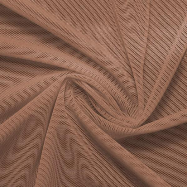 A swirled piece of nylon spandex power mesh in the color mocha.