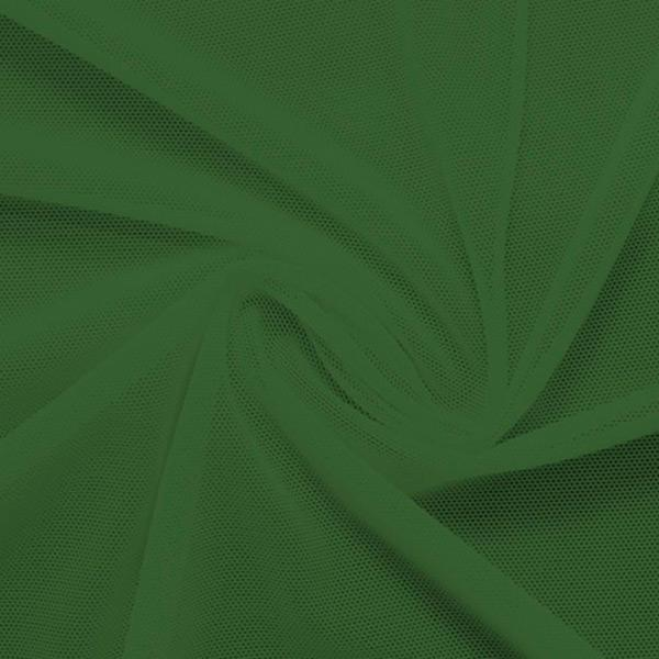 A swirled piece of nylon spandex power mesh in the color moss.