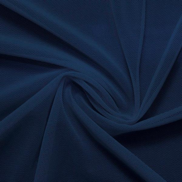 A swirled piece of nylon spandex power mesh in the color navy.
