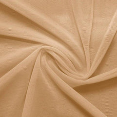 A swirled piece of nylon spandex power mesh in the color new nude.